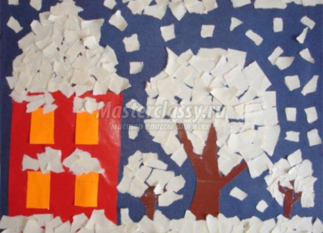 Поделки из цветной бумаги зимние для детей